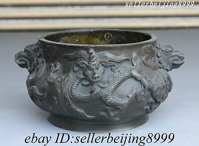 Marked Chinese Palace Pure Bronze Fly Dragon Lion Staute Incense Burner Censer