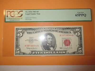1963 $5 Legal Tender Note Pcgs Gem New 65Ppq (Beautiful Note)