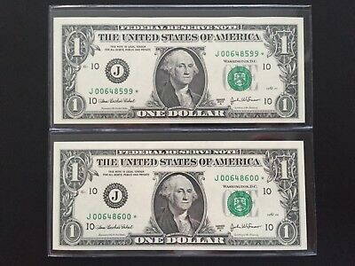 2003 A STAR NOTE $1 Dollar Bill (2 Consecutive KANSAS),Low Number,Uncirculated