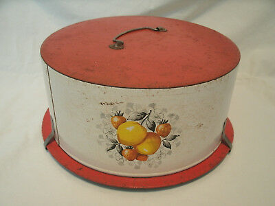 Antique All-Metal Cake Holder with Pictures of Peaches and Strawberries