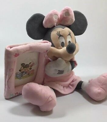 Disney Store Minnie Mouse Soft Plush Toy Holding Photo Picture Frame Pink 24cm.