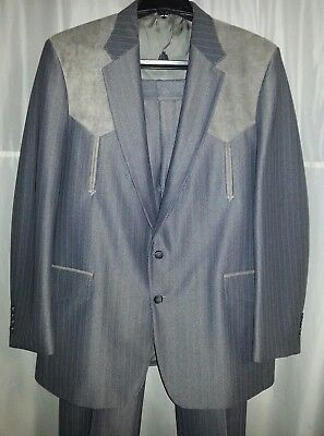 """VINTAGE 46 L Pants( 40"""" x 31"""") MILLER STOCKMAN WESTERN SUIT Made In USA !!"""