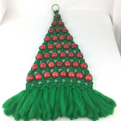 Vintage Macrame Christmas Tree Wall Hanging Green With Red Beads 30 Long Xmas