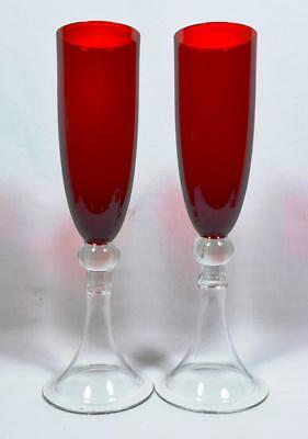 Pair of Early 20thC Glass Champagne Flutes