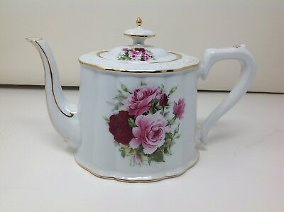 "Vintage ""Summer Rose"" Fielder Keepsake Gold Trimmed Porcelain Teapot"