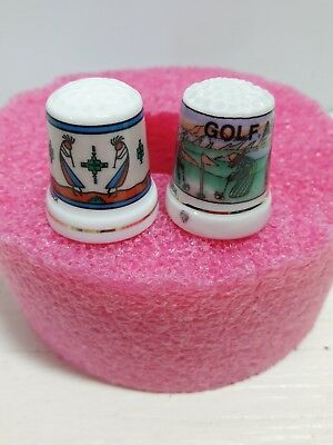 Thimbles Arizona Themes Golf and Indian 1 of each Porcelain