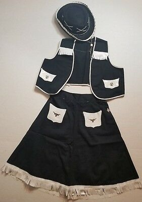 Vintage Cowgirl Western Outfit Skirt, Vest and Hat  with Horse Adornments
