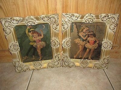 Vintage/Antique OLD Ornate Ballerina Wall Pictures ~ PAIR ~ Wood