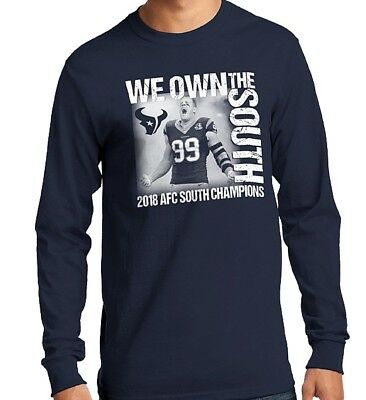8c4f45df8 Houston Texans 2018 AFC South Champs JJ Watt Long Sleeve Photo Navy T Shirt  NEW