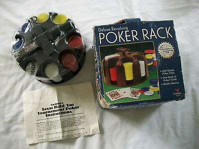 Deluxe Revolving POKER RACK 200 Poker Chips-Cards-Instructions by Cardinal