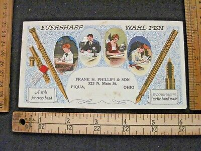 Vtg Wahl Eversharp Ink Blotter Nice Graphics Unused Piqua Ohio Red Top Leads