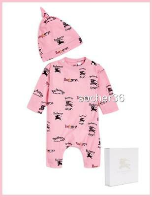 Burberry Infant Long Sleeve Logo Playset W/ Hat Pink Sizes 6, 9 Or 12 Months Nwt