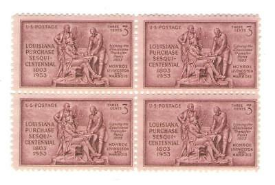 Louisiana Purchase 64 Year Old Mint Vintage Stamp Block from 1953