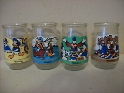 Set Of  4  Welch's Jelly Glasses  Disney Melody Time, Goofy The Movie, ++