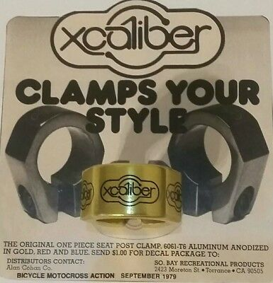 "NOS 1979 Gold XCALIBER Old School BMX 1"" Seat Post Clamp WEBCO FMF R&R NBA PANDA"