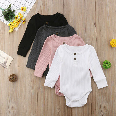 UK Newborn Baby Boy Long Sleeve Solid Knit Romper Jumpsuit Clothes Outfits Hot