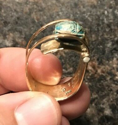 WOW! Ancient Egyptian Faience Scarab Beetle 14k Gold Ring Hallmarked Jewelry NR!