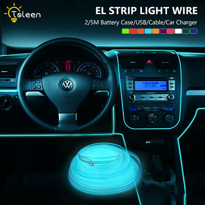 Flat EL Wire Tape LED Neon Fairy Lights Strip + Power Driver For Home Car Decor