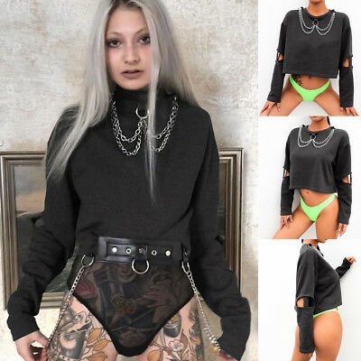 Women Sexy Choker Punk Sweatshirt Top Black Gothic Punk Hoodie Pullover Crop Top