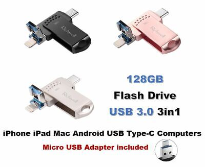 64GB/128GB 4 in 1 OTG USB 3.0 Flash Drive for iPhone, Android, USB C, PC