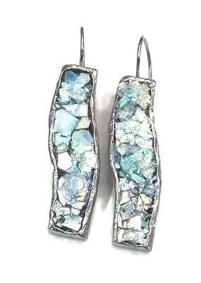 Roman Glass Earrings Ancient Fragments 200 B.C Rhodium Plated Holy Land Israel.