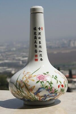 """Vintage Chinese / Japanese Porcelain Bottle  Vase with Cork 9"""" Hand Painted Rare"""