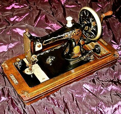 1880 Rare Antique The Silberberg Sewing Machine Wood Inlay Base Workingcondition