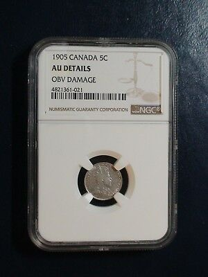 1905 Canada Five Cents NGC AU BETTER DATE SILVER 5C Coin BUY IT NOW!