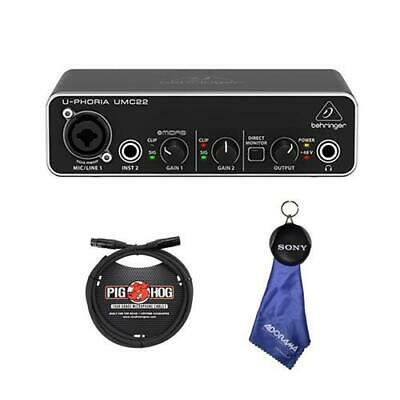 Behringer U-Phoria UMC 22 Audiophile 2x2 USB Audio Interface W/6' 8mm XLR Cable