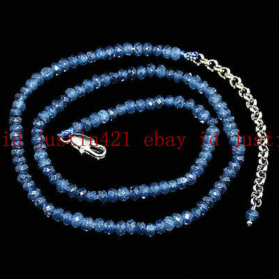 1a021ab9ca75a9 Fine 2x4mm Faceted Kyanite Roundlle Gems Beads Necklace 18''-36