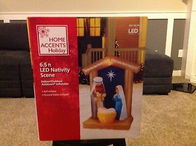 Christmas Nativity Scene  6 ft 6 in Tall Led Lighted Inflatable Air Blown New