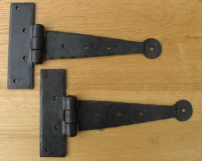 "8"" Cupboard T Hinges Hand Forged Black Antique Iron"