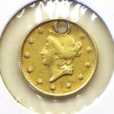 1854 Type 1 $1 Liberty Head Gold Dollar: Holed
