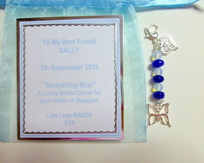 Something Blue Lucky Traditional Bridal Charm Butterfly +Silver Filigree Heart