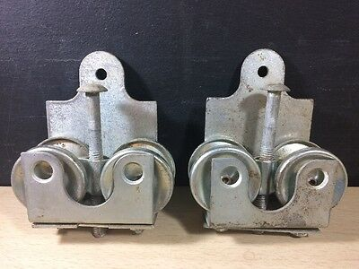 2 Vintage Barn Door Track Rollers Slidder Primitive Decor Galvanized Steel