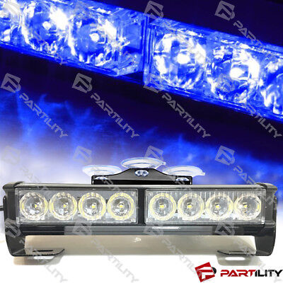 9 inch LED Blue Light Emergency Warn Strobe Flash Bar Hazard Construct Advisor