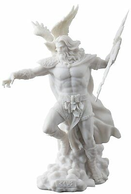Zeus Sculpture Holding Thunderbolt With Eagle Statue Figurine - White Finish