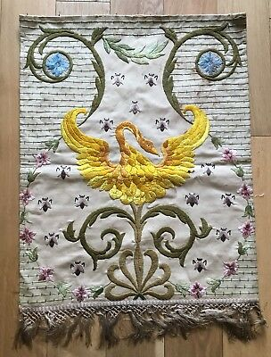 Old Vintage Chinese Golden Bird & Bees Embroidery Embroidered Panel Hanging