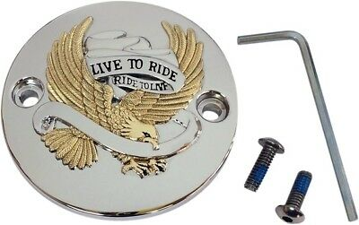 Drag Specialties Live to Ride Eagle Points Cover Gold/Chrome Harley Davidson