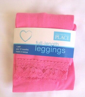Children's Place Leggings Pink w/Lace Bottom Baby Girl's Size 12 Months NWT