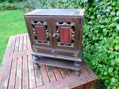 antique original oriental style 2 door cupboard/cabinet with drawer and plinth.