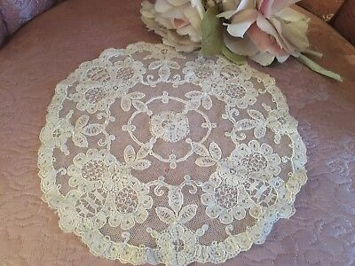 Antique French Tambour Lace Doily Cotton Netting Floral Needlework A6z