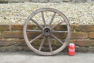 Vintage old wooden cart wagon wheel  / 48.5 cm - FREE DELIVERY