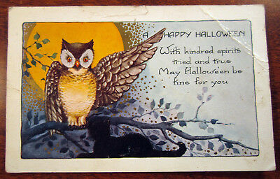 Happy Halloween Kindred Spirits Tried & True Be Fine Owl Antique Postcard 1214