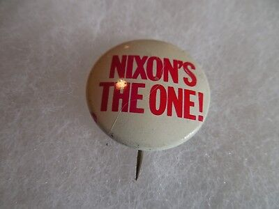 "Richard Nixon Pin Back Presidential Campaign Button Nixon's The One 7/8"" Badge"
