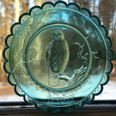 Coopers Hawk Pairpoint Glass Cup Plate Green Pressed Crystal Glass Bird of Prey