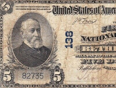 Nice *SCARCE* 1902 $5 BETHLEHEM, PA National Banknote! FREE SHIPPING! 82735