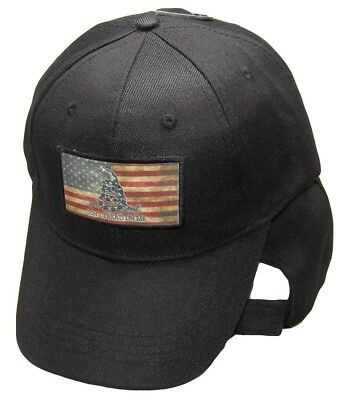 USA Gadsden Don't Tread On Me Tea Stained Patch Black Embroidered Cap Hat