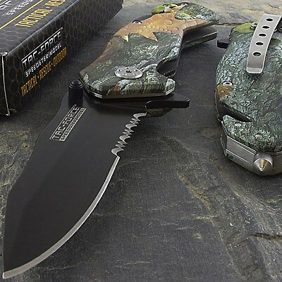 "7.75"" TAC FORCE FOREST CAMO SPRING ASSISTED FOLDING POCKET KNIFE Open EDC Blade"