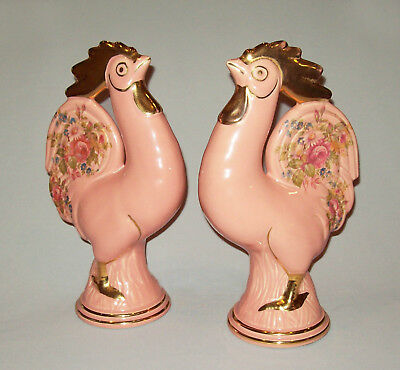 Great vtg 1950s Mid Century Pair Large PINK Pottery Chickens Roosters Very Nice